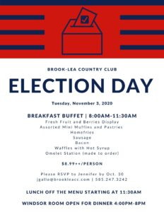 Election Day Breakfast @ Brook-Lea Country Club