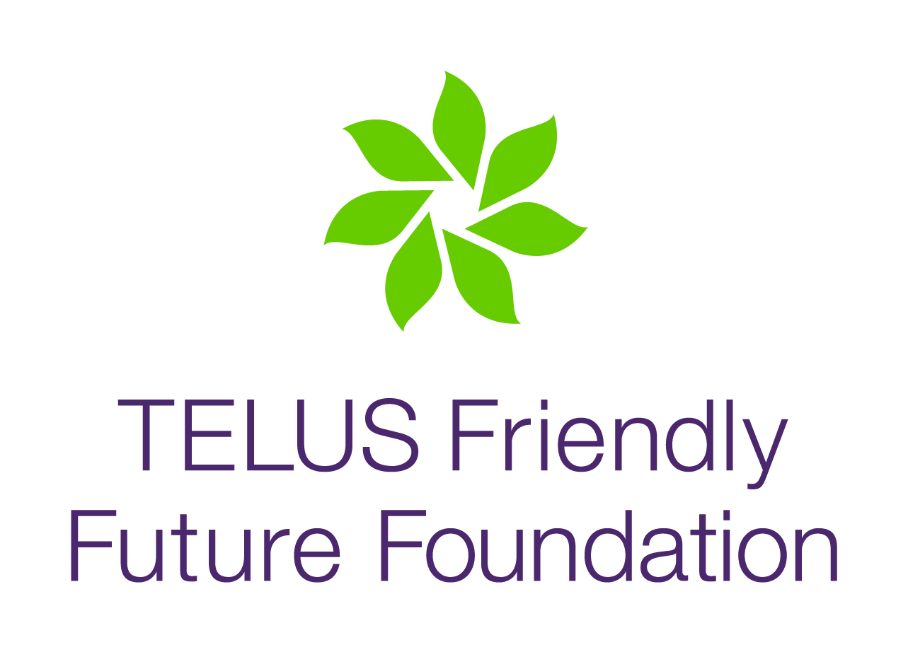 """Telus Friendly Future Foundation logo: A wheel of green leaves in the shape of a flower and text that reads """"Telus Friendly Future Foundation"""""""