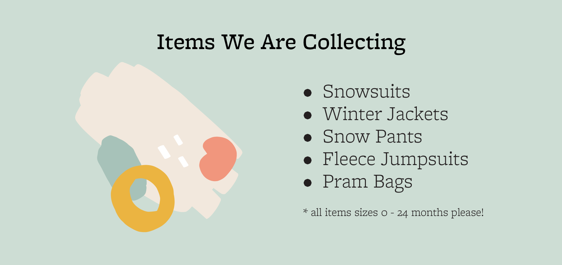 List of items collected at BabyGoRound's Winter Drive