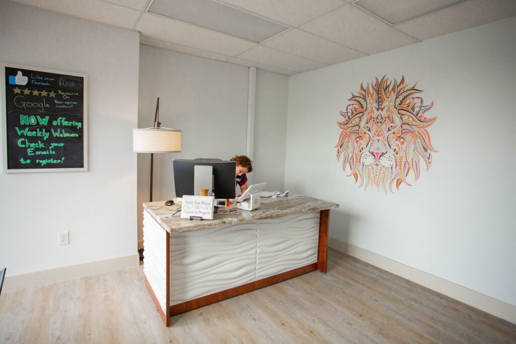 courage health and wellness service reception desk