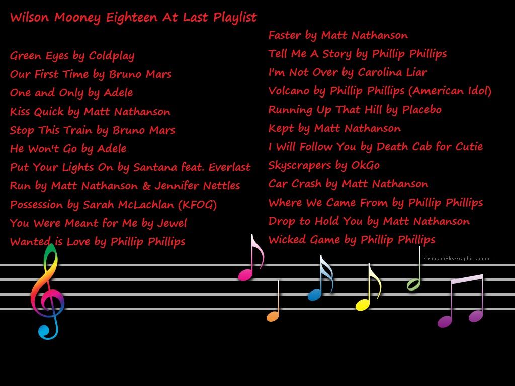 Wilson Mooney Eighteen at Last Playlist