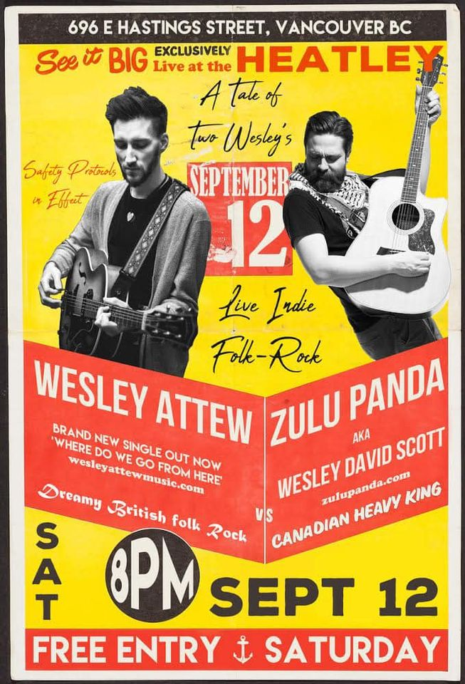 Socially distanced conversational volume folk rock tonight @theheatley696 !! COVID protocols in place. Follow the house rules and we can all have fun @zulu_panda @wesleyattewmusic @pulppublicity