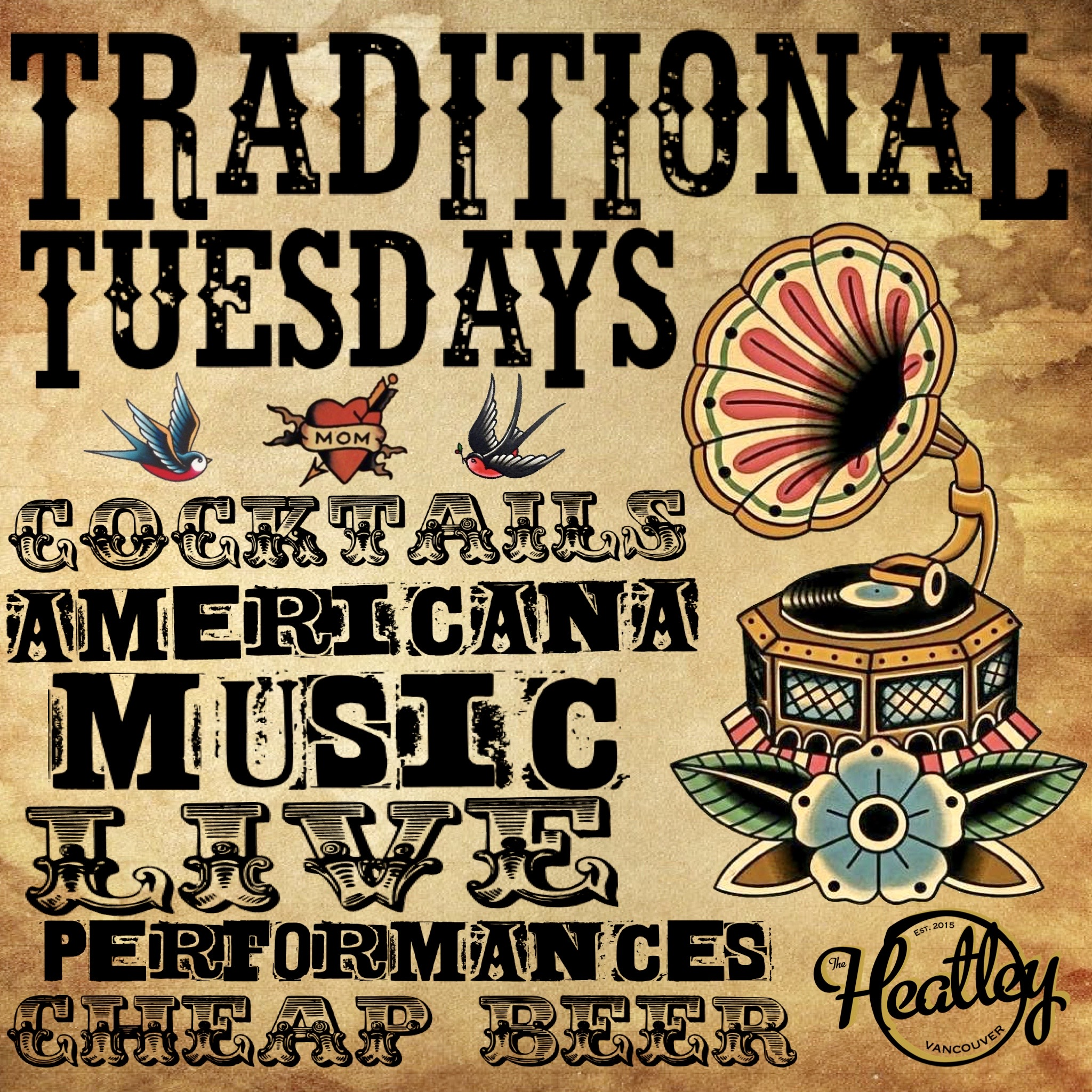 Traditional Tuesday's tonight @theheatley696 Old time tunes on the phonograph and some LIVE MUSIC from Heatley newcomer and roots musician Josh Laird @openbook_pokerface 9pm