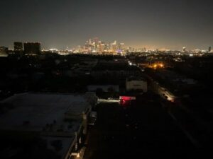 Texas cityscape in blackout due to power outage