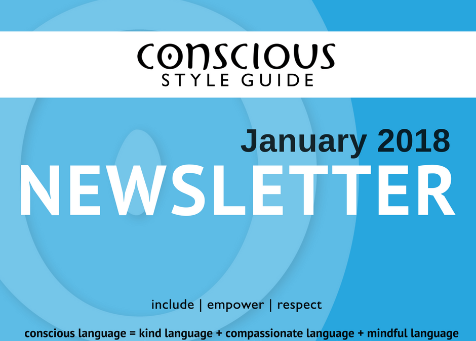 Blue graphic with white and black text stating month/year of newsletter.