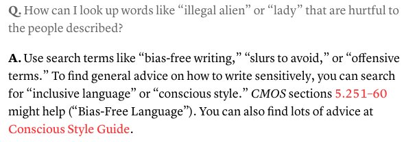 Screenshot of a Chicago Manual of Style Online Q&A that directs readers to Conscious Style Guide for advice on writing with sensitivity.