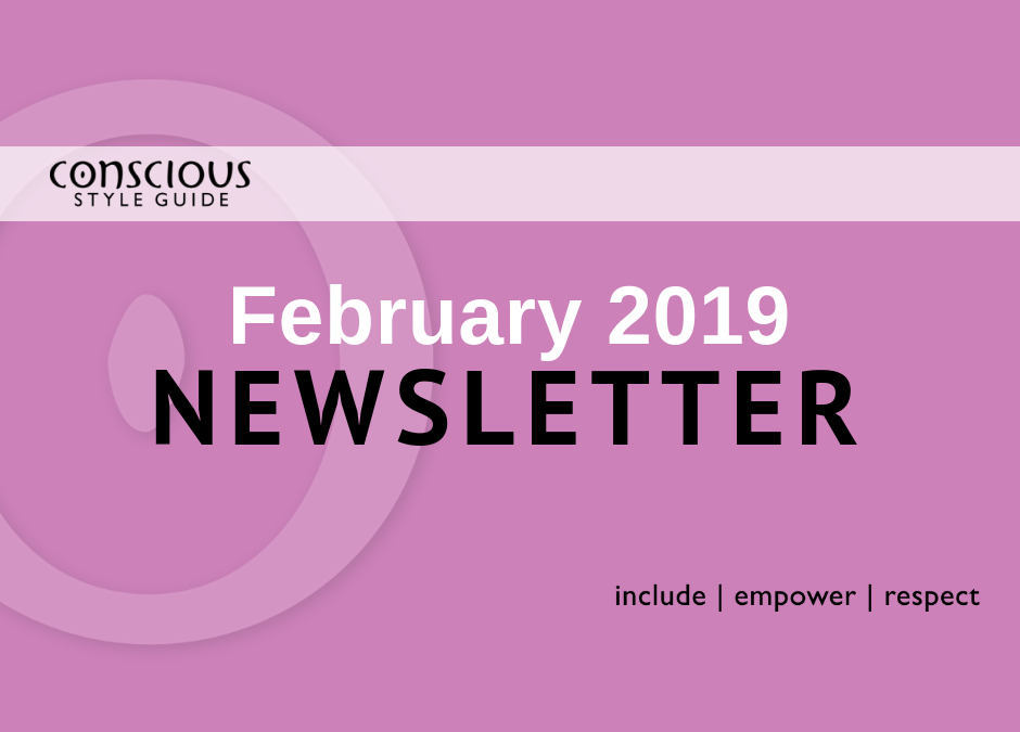 Pink graphic with white and black text stating month/year of newsletter.