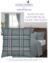 Woven Plaids Sapphire Blue, Taupe and Silver on Aqua