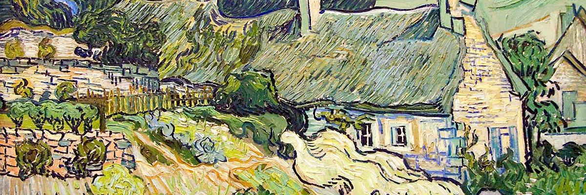 """Thatched Cottages and Houses"", obra de Vincent van Gogh."