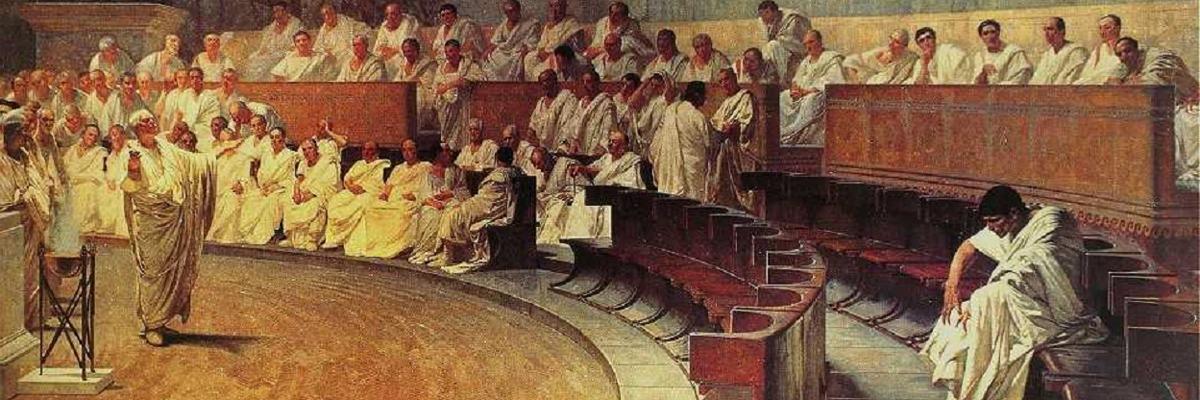 Cicero Denounces Catiline, by Cesare Maccari (1889),(Senado Romano, 63 A.C).