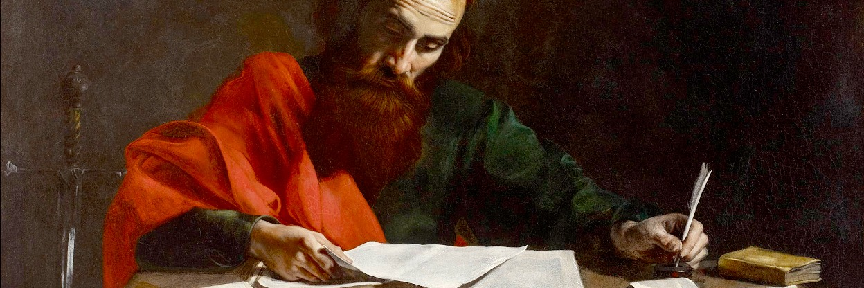 Paul Writing His Epistles, painting attributed to Valentin de Boulogne, 17th century