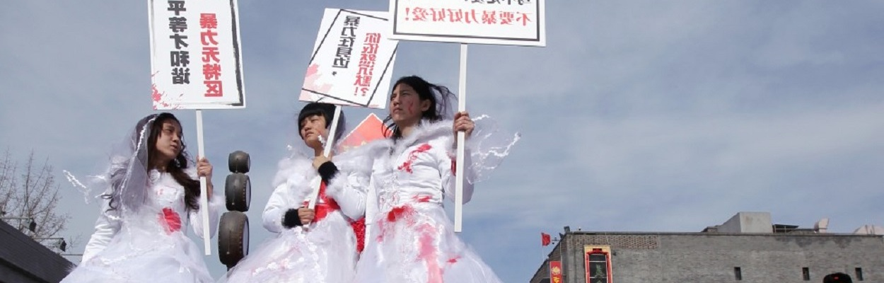"""Some of the women held took part in the 'bloodstained bride"""" campaign in Beijing."""