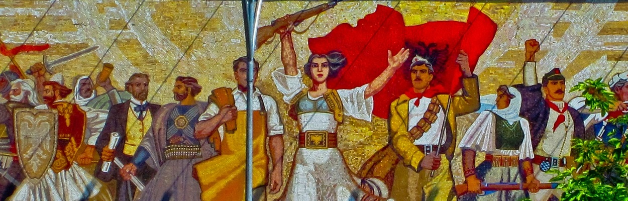 Mosaic mural in the main square of Tirana, representing an interpretation of the history of the Albanian people from the Illyrians to the Proletarian Dream.