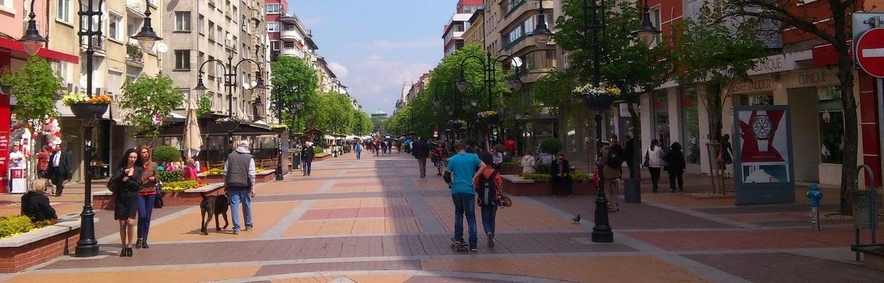 Vitosha Boulevard in Sofia, Bulgaria.