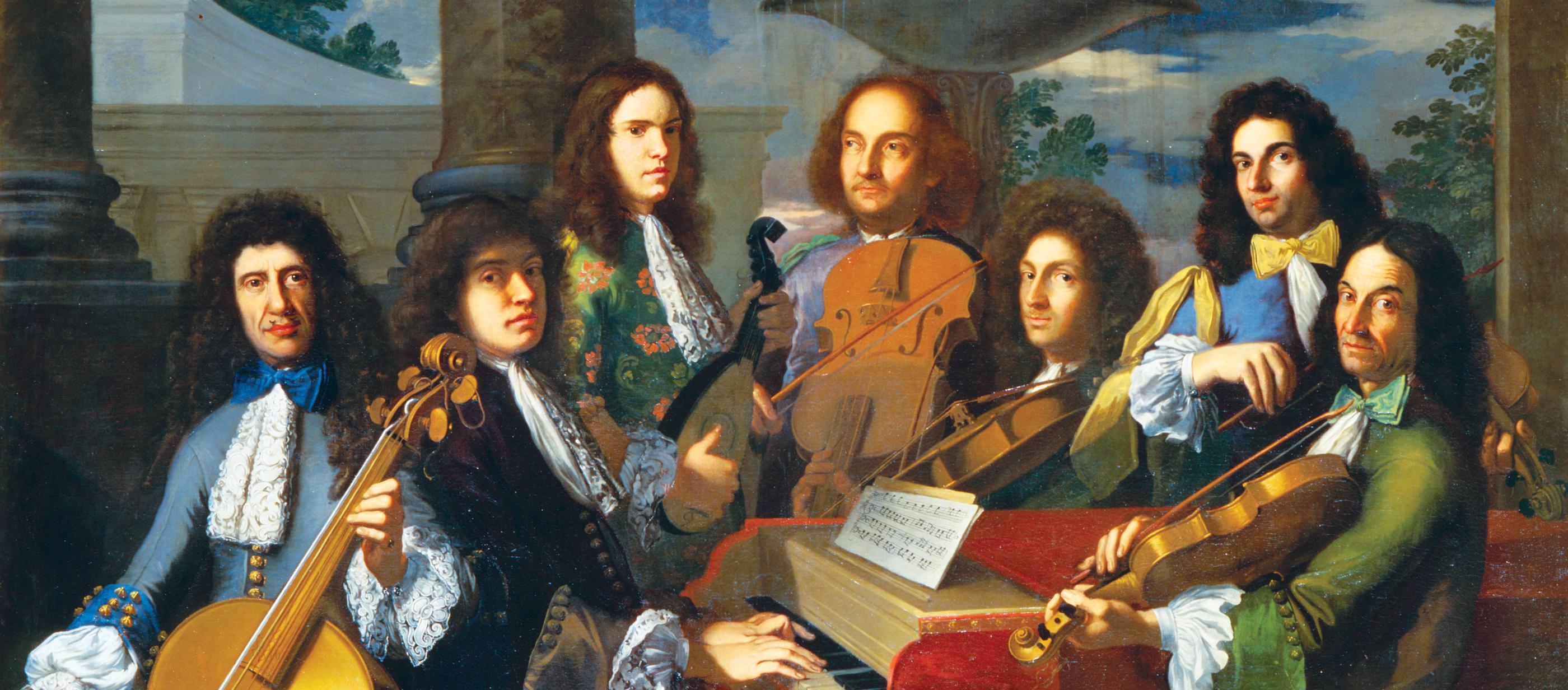 """Músicos na corte dos Medici"" de Antonio Domenico Gabbiani (1652-1726). Palazzo Pitti, Florença (Itália)."