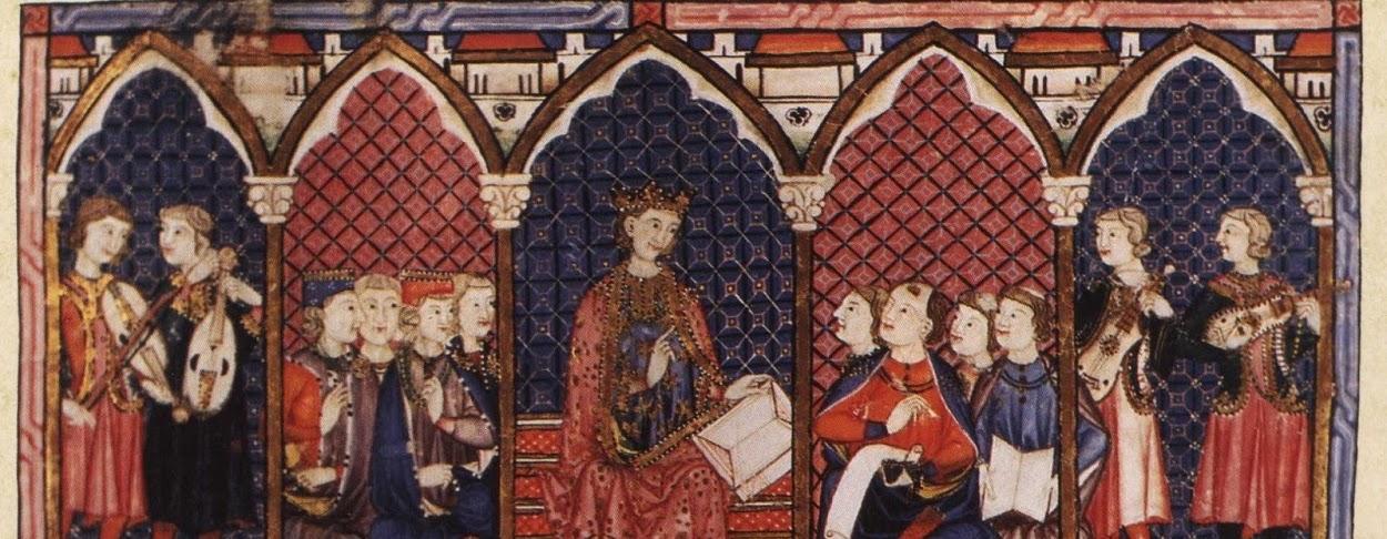 Iluminura com músicos nas Cantigas de Santa Maria, século XIII-XIV.