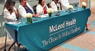 Pictured, left to right, are Dr. Viki Papathanasiou of McLeod Family Medicine Carolina Forest, Dr. Chris McCauley of McLeod OBGYN Seacoast, Dr. Lacie Edmison of McLeod Digestive Health Center Seacoast, Dr. Vaishali Swami of McLeod Cardiology Associates and Dr. Josh Sibille of McLeod Vascular Associates.