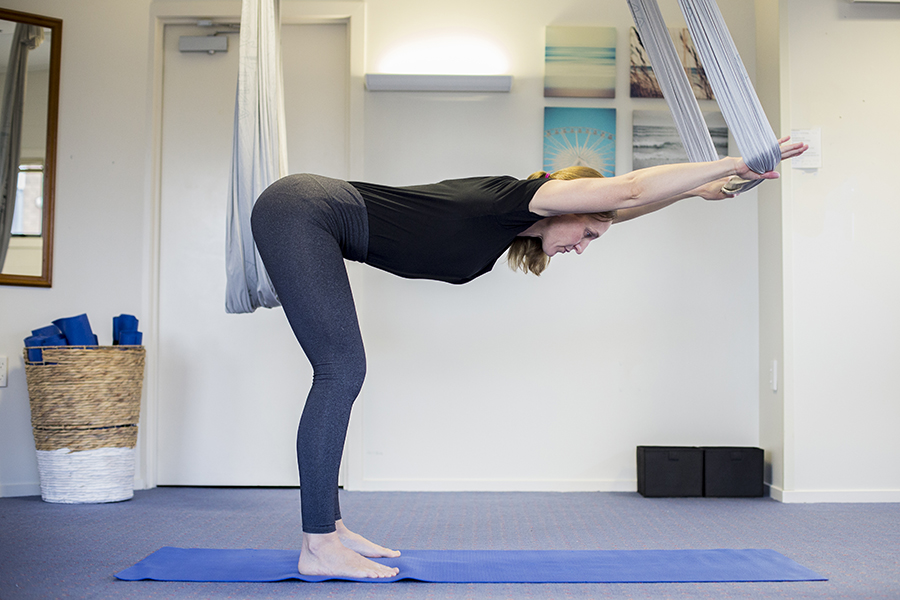 Right Angle Pose using an Antigravity hammock