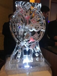 Gambling drink luge with corporate logo