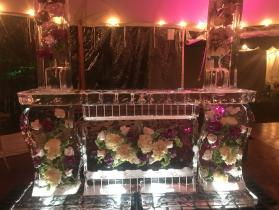 flower bar 8 ft with two drink luges, we use only fresh flowers for the freeze-ins