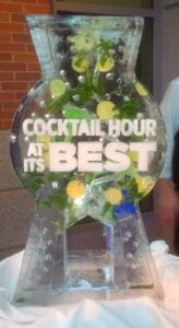 Mojito Drink Luge Ice Sculpture with text