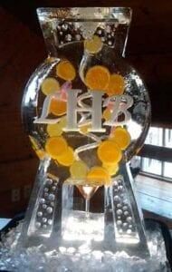 Cosmo Monogram Luge Ice Sculpture