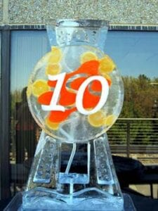 Logo Ice Luge with number Ice Sculpture