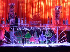 Midnight in Moscow Theme Bar 12 ft, with two drink luges on either side.