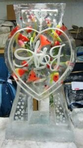 Monogram Heart Drink Ice Luge, with fresh watermelon, strawberries and pink tulips