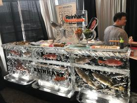 Reinhart sushi bar with fresh fish frozen into base