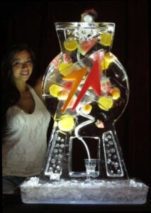 Cosmo drink luge with corporate logo and bartender