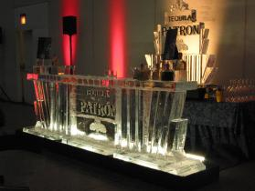 Patron Bar 12 foot with back bar logo and bottle holders on bar top