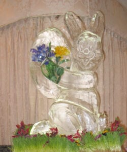 Bunny holding Egg with flower inlay