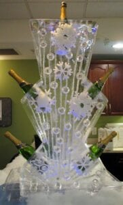 Champagen holder with snowflakes