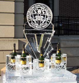 Champagne Holder with logo Ice Sculpture
