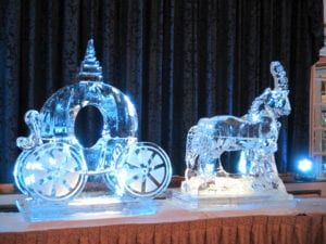 Cinderellas carriage and two horses very large 10 block sculpture 12 feet wide and 6 feet tall