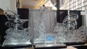 Large fish display 12 feet wide and 7 feet tall. Display was for a large food service company food show. e