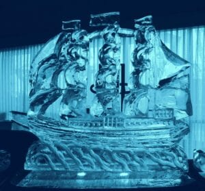 Clipper Ship 2 blocks as focal point in large raw bar display