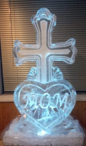 Cross with heart name ice Sculpture