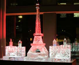 Eiffel Tower Ice Sculpture with bottle holders for a shot station