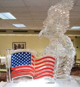 Flag and Eagle ice sculpture