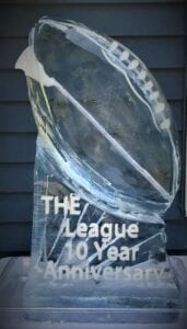 Football Shot luge with lettering