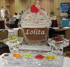 Fruit Station with cup cake Ice Scultpure