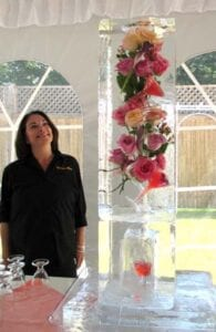 Colored Roses Drink Ice Luge Sculpture