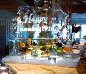 Happy Thanksgiving ice sculpture