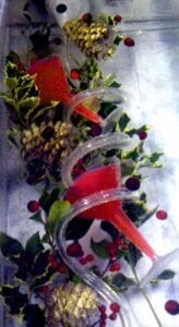 Holiday Holly Cranberry GoldPinecone Ice Luge Sculpture