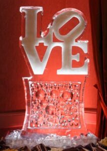 Love ice sculpture on bubble base, or the base could have wedding names