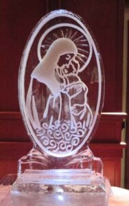 Madonna and Child engraving Ice Sculpture