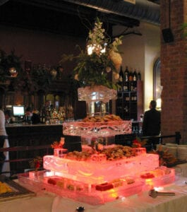 Three Tier Raw Bar Ice Sculpture. This is a very large seafood server it needs two six foot tables for the setup.