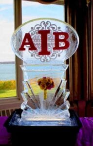 Monogram with flower base Ice Sculpture